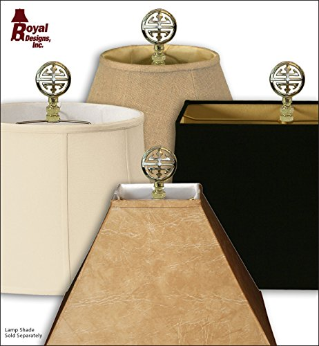 Royal Designs Oriental Happiness Symbol Lamp Finial for Lamp Shade- Polished Brass Set of 2 by Royal Designs, Inc (Image #3)