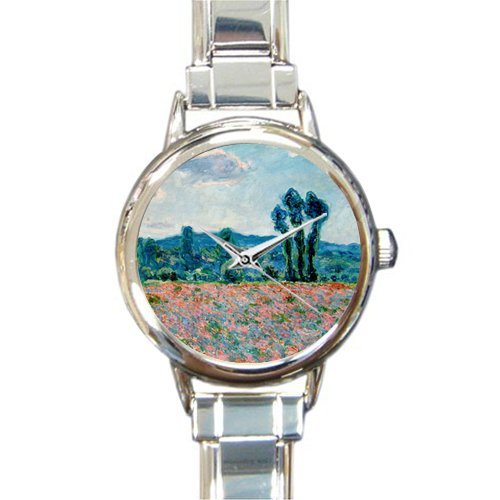 Personalized Watch Poppy Field in Giverny by Claude Monet Round Italian Charm stainless steel Watch - Christmas Guft
