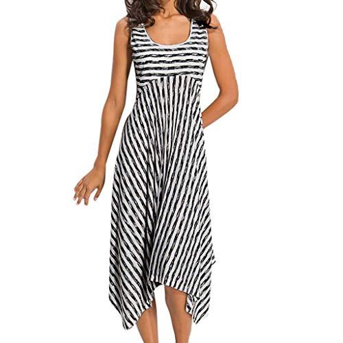 Ex Officio Wool Vest - ♡QueenBB♡ Women's Summer Sleeveless Striped Flowy Casual Long Maxi Dress Irregular Hem Beach Vest Dress Skirt White