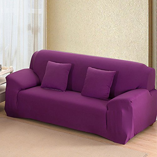"""Stretch Seat Chair Covers Couch Slipcover Sofa Loveseat Cover 9 Colors/4 Size Available for 1 2 3 4 Four People Sofa + Pillowcase (57""""-72""""/2 Seater, Purple)"""
