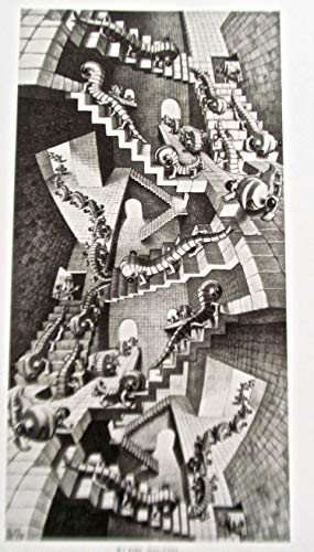 M C Escher House of Stairs Poster 14x11 Offset Lithograph