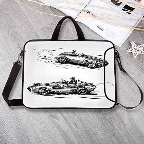 Cars Portable Neoprene Laptop Bag,Vintage Racing Cars Hand Drawn Style Collection Nostalgic Automobile Sketch Artwork Decorative Laptop Bag for Travel Office School,12.6