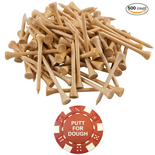 Markers Ball Wholesale Golf (Wedge Guys 500 Count Professional Bamboo Golf Tees 2-3/4 inch - Free Poker Chip Ball Marker - Stronger Than Wood Tees Biodegradable & Less Friction PGA Approved)