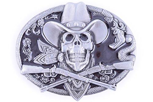 Double Guns Skull Cowboy Design Belt buckle (Black) (Buckle Belt Black Skull)