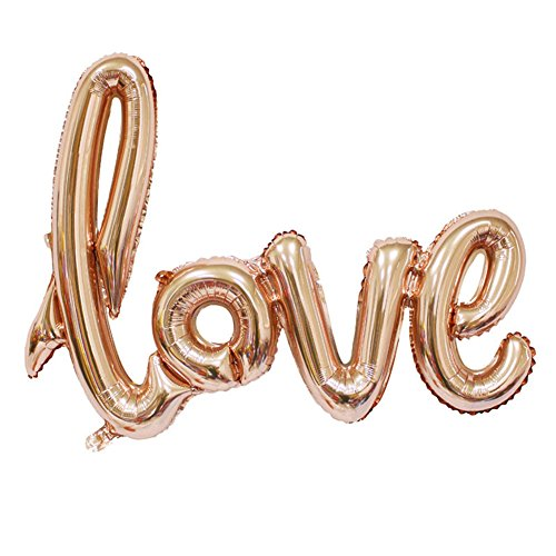 (WULEEUPER Love Balloon Banner 42.5 Inches Handwriting Letter Giant Celebration Balloon Romantic Wedding Bridal Shower Anniversary Engagement Party Decoration (Champagne-Gold))