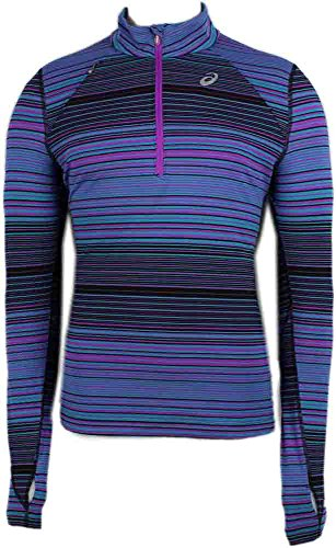 Womens Technical Mock Shirt - Asics Women's Thermostripe Lightweight Thermal 1/2 Zip Top, Bondi Blue Stripe, X-Large
