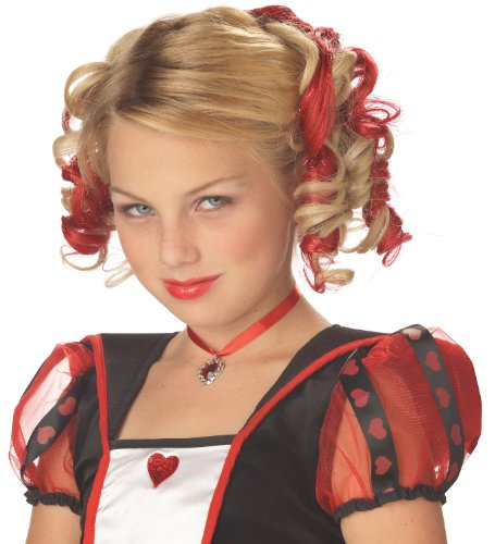 Queen Of Hearts Little Girl Costume (Blonde and Red Curly Clips Wig)
