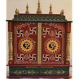 Mereappne Design Home temple/ pooja Mandir/ Wooden Mandir/ Pooja Mandap with LED Bulb INSIDE FREE GIFT POOJA THALI, GOD FRAMES