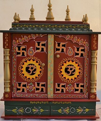 Om And Swastika Design Home Temple/ Pooja Mandir/ Wooden Mandir/ Pooja  Mandap With