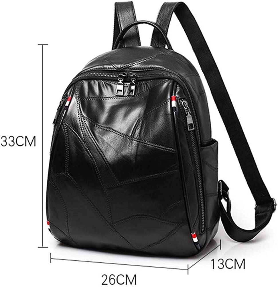 Backpacks Women Leather Handbag Waterproof Fashion College Shoulder Bags Multipurpose Rucksack Travel Bag Black