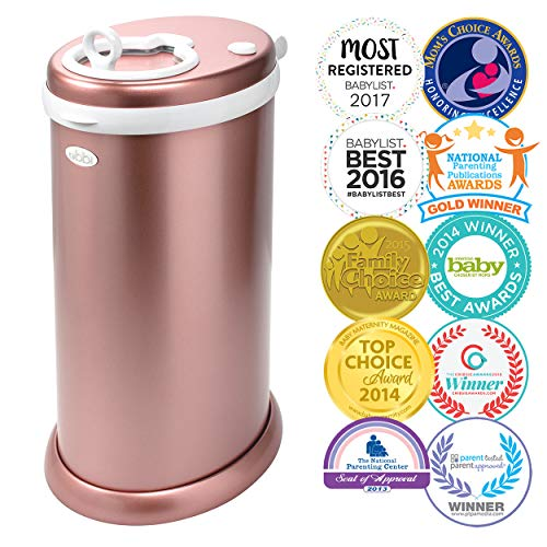Ubbi Stainless Steel Odor Locking, No Special Bag Required Money Saving, Awards-Winning,Modern Design Registry Must-Have Diaper Pail, Rose -