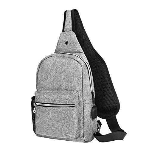 MOSISO Sling Backpack with USB Charging Port Hiking Daypack Outdoor Shoulder Bag, Gray