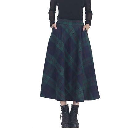 64a09a9621 MX Mujer Midi Falda A-Line Faldas Cintura Alta De Lana Cuadros Plisado Media  Pierna