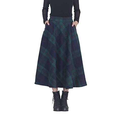 MX Mujer Midi Falda A-Line Faldas Cintura Alta De Lana Cuadros ...