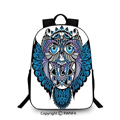 Campus Both shoulders school bag,Owl Bird Animal with Paisley Tattoo Decor with Big Blue Eyes Lashes School Backpacks For boys Navy Blue and Purple