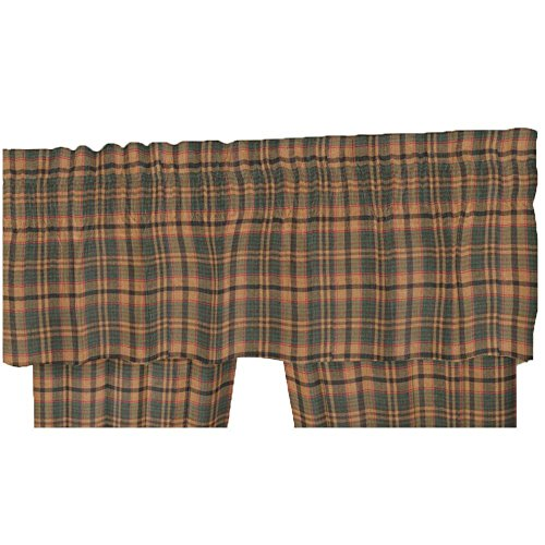 Patch Magic 100-Percent Cotton 54-Inch by 16-Inch Curtain Valance, Golden Brown Plaid