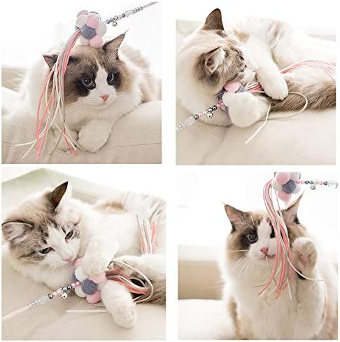 Cat Teaser Wands 3 PCS Cat Wands Interactive Cat Toys Cat Stick with Balls, Feather and Tassel for Cat Kitten Having Fun Exerciser Playing 7