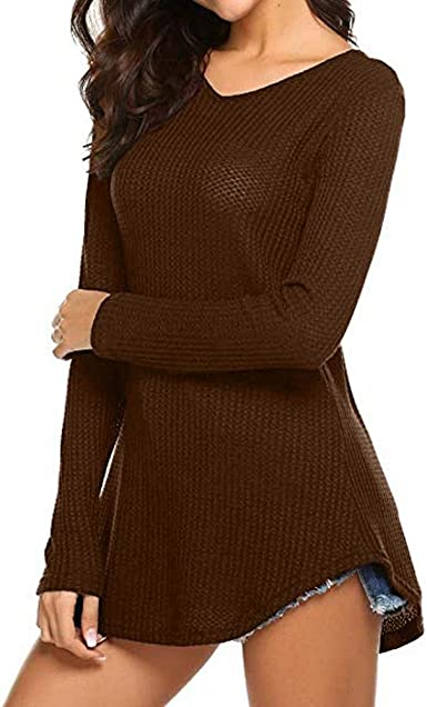 VJGOAL Moda Mujer Color Sólido de Manga Larga Tops con Cuello ...