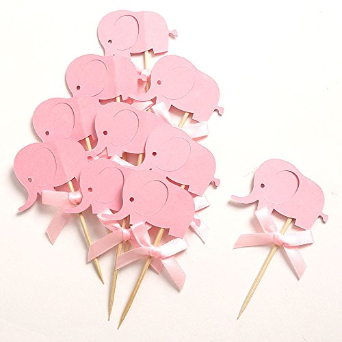 2017 New Custom Bow & Pink Elephant Double-Sided Cupcake Toppers Picks for Baby Shower Girl Birthday Party Decorations (Baby Shower Blue Punch)