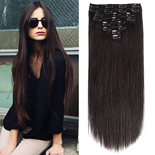 "Clip in Human Hair Extensions 24"" Brazilian Virgin Hair Clip on Hair Extensions Grade 8A Silky Straihgt Human Hair Nature Black Double Weft 8pcs/Lot 120g (24inch 1BNature Black)"