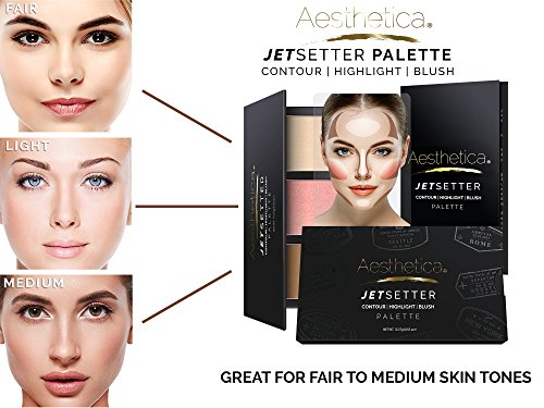 Aesthetica JetSetter Palette - All in One Highlighter, Blush and Contour Kit - Fair to Medium Skin Tones by Aesthetica (Image #2)