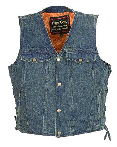 Vest Pocket Chest Classic - Club Vest  Men's Side Lace Denim Vest w/ Chest Pockets  (Blue, Medium), 1 Pack