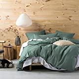 Eikei 3pc Wrinkled Look Soft Washed Cotton Queen Duvet Cover Set, Pine Deal (Small Image)