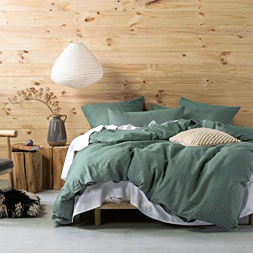 Eikei Washed Cotton Chambray Duvet Cover Solid Color Casual Modern Style Bedding Set Relaxed Soft Feel Natural Wrinkled Look (Queen, Pine)