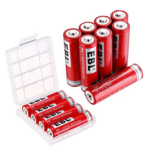 EBL 14500 3.7V 800mAh Li-ion Rechargeable Batteries, 12 Pack