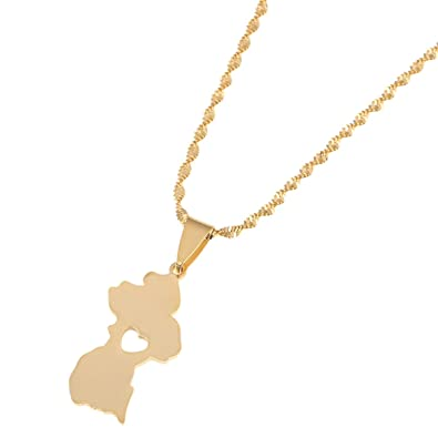 44e7a5ee6d6d1a Amazon.com: Stainless Steel Map of Guyana Pendant Necklace Gold Color  Guayana Jewelry Republic of Guyana: Jewelry