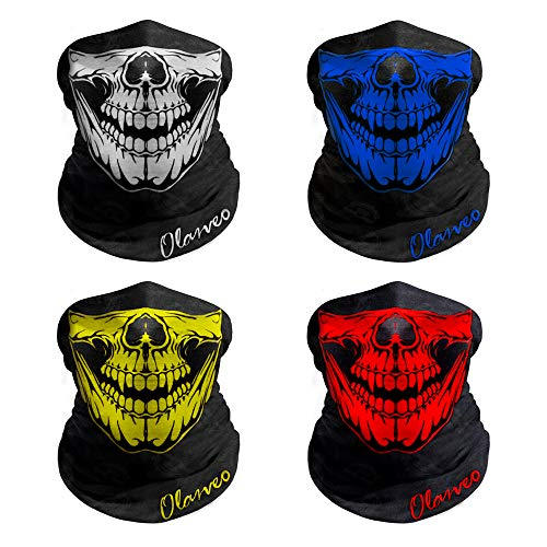 (Breathable Seamless Tube Skull Face Mask half with Shade, Dust-proof Windproof Motorcycle Bicycle Bike Face Mask for Hiking Camping Climbing Fishing Hunting Motorcycling Headband Scarf Neckwarmer)