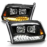 ACANII - For 2009-2018 Dodge Ram 1500 10-18 2500 3500 Black LED Signal DRL Dual Projector Headlights Headlamps Assembly