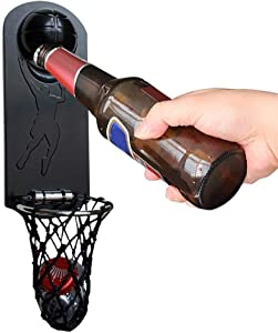 Bottle Opener, Wall Mounted Bottle Opener, Basketball Bottle Opener With Magnetic Cap Catcher, Refrigerator Mount With Magnets, For Office Bar Home, Housewarming Gifts Beer Gifts For Men