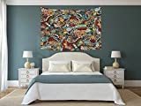 iPrint Polyester Tapestry Wall Hanging,Doodle,Cinema Items Combined in an Abstract Style Popcorn Movie Reel The End Theatre Masks Decorative,Multicolor,Wall Decor for Bedroom Living Room Dorm