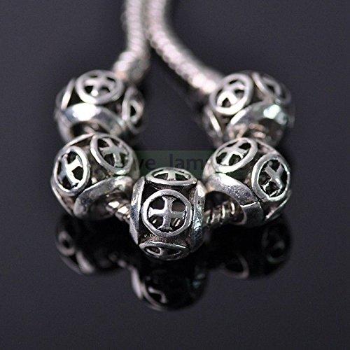 Cross wheel (10mm) 20Pcs Hot Wholesale European Silver CZ Spacer Beads Fit Charm Bracelet Jewelry Making by love_lampwork (Image #1)