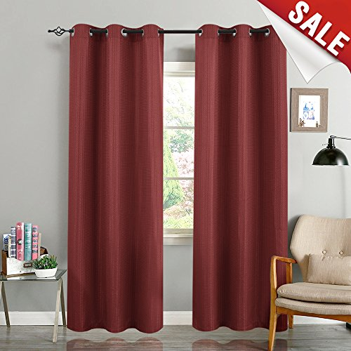 Curtains for Living Room 84 inches Length Waffle Weave Textured Room Darkening Bedroom Window Treatment Set, Burgundy, 2 Panels ()