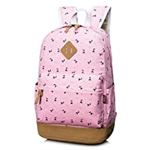 Leaper Lightweight Canvas Laptop Backpack Cute School Bags Deer Pink