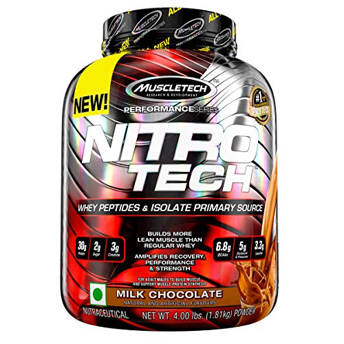 NitroTech Protein Powder Plus Creatine Monohydrate Muscle Builder, 100% Whey Protein with Whey Isolate, Milk Chocolate, 40 Servings (4lbs)