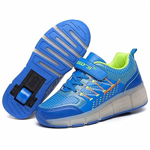 Zapatos del patín zapatos deportivos niños y niñas de calzado deportivo, zapatos de skate peón neutra con luces LED parpadeante ruedas de patines de rueda patín zapatos Azul