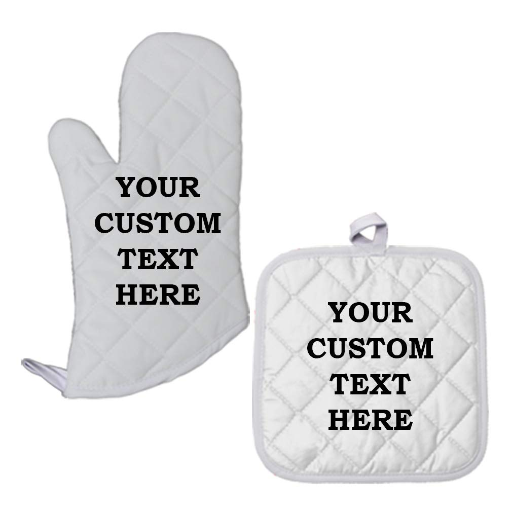 Custom Your Text Here Personalized Lettering Polyester Oven Mitt Pot Holder Set by Style In Print