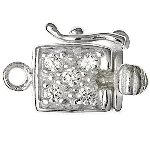 Dreambell .925 Sterling Silver Clear Cz Crystal 1-Strand Pearl Box Clasp 15mm Connector Switch Bead with Safety - Sterling Pearl Silver Clasp