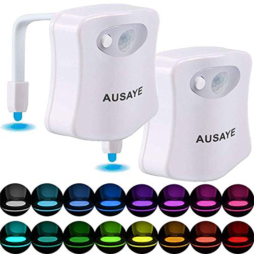 Motion Activated Toilet Night Light,AUSAYE [2Pack]16-Color Changes Motion Sensor Toilet Light,Bathroom/Washroom Nightlight,Toilet Bowl Light,LED Light Activates in Darkness