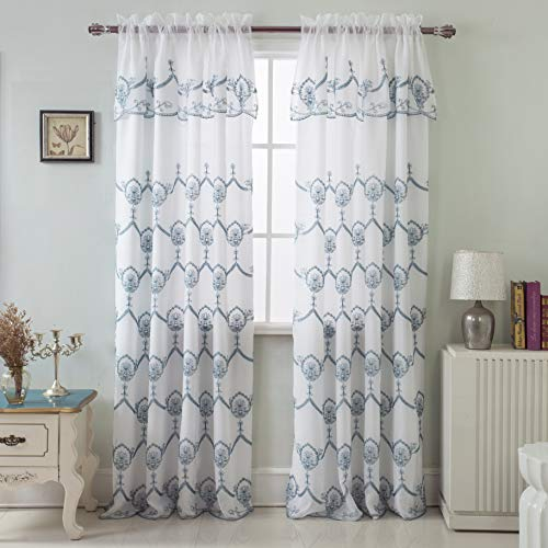RT Designers Collection Rochelle Embroidered 54 x 84 in. Satin Layered Rod Pocket Single Curtain Panel w/Attached 18 in. Valance in Blue