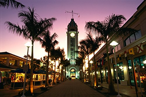 Posterazzi Hawaii Oahu View of Aloha Tower Marketplace at Dusk Pink Sky Poster Print, (38 x 24) (Oahu Marketplace)