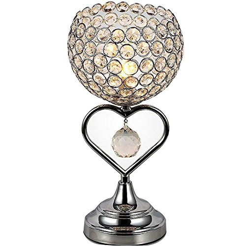 ATC Crystal Table Lamp Chrome Finish Metal Base Decorative Room Light with K9 Crystal Heart-Shaped Desk Lamp for Wedding Decoration Dining Table (Silver)