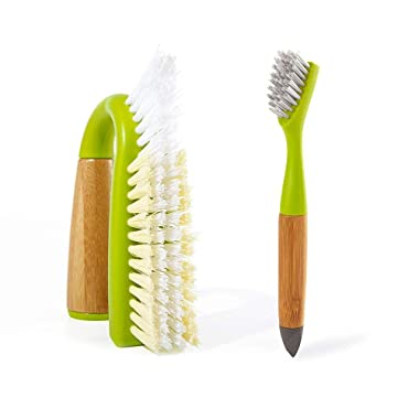 Full Circle Bathroom Detailing Set - Grunge Buster Grout and Tile Scrubber and Micro Manager Detail Cleaning Brush, Green