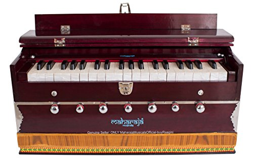 Harmonium #1, Maharaja Musicals, Handmade Harmonium, 3 1/4 Octave (Saptak), 7 Stop, Standing, Coupler, Multi Bellow, Book & Padded Bag, Tuned A440, Dark Mahogany Color, PDI-DB