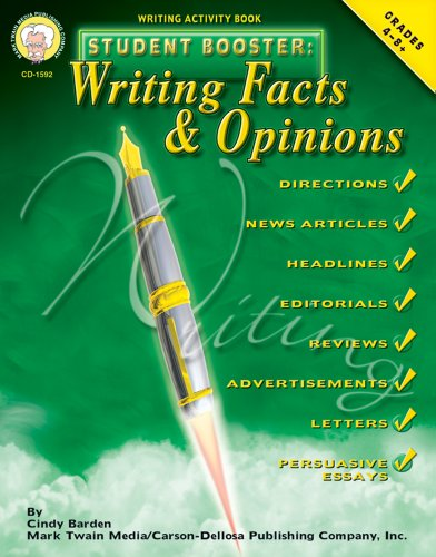 Student Booster: Writing Facts and Opinions, Grades 4 - 8