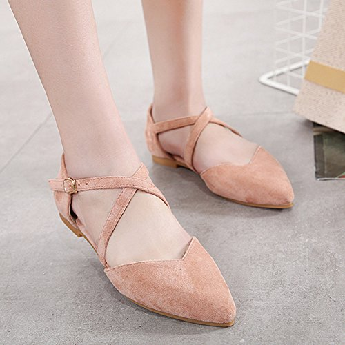 Pointed Bouth Heel B Baotou Buckle Fashion Scarpe Womens Belt LJO Flat Shallow Sandals Summer q7EETF