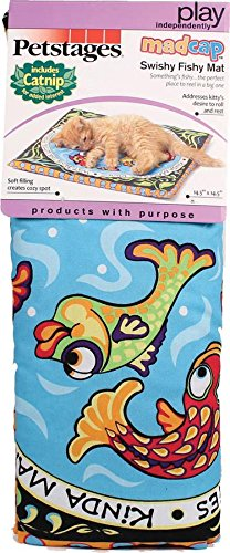Cosmic Catnip Pillow (Petstages 749 Madcap Swishy Fishy Mat Cat Catnip Toss and Bat Plush Toy)